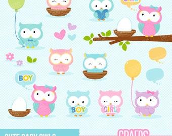 CUTE BABY OWLS  - Digital Clipart Set, Owls Clipart, Babies Owls Clipart, New Born Clipart, Baby Shower Clipart