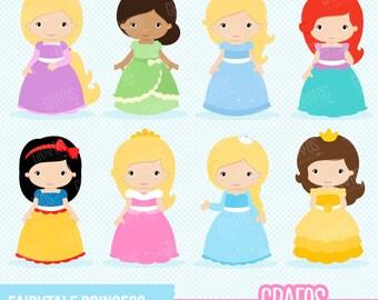 FAIRYTALE PRINCESS - Digital Clipart Set,  Princess Clipart, Fairytale Clipart .