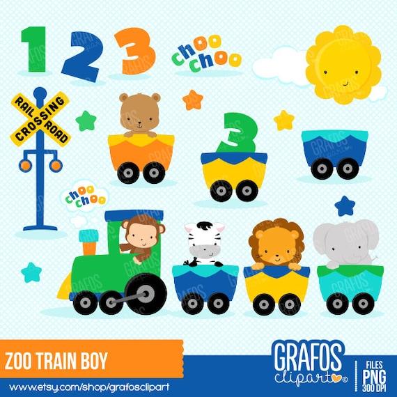 ZOO TRAIN BOY Digital Clipart Set Train Clipart Animals