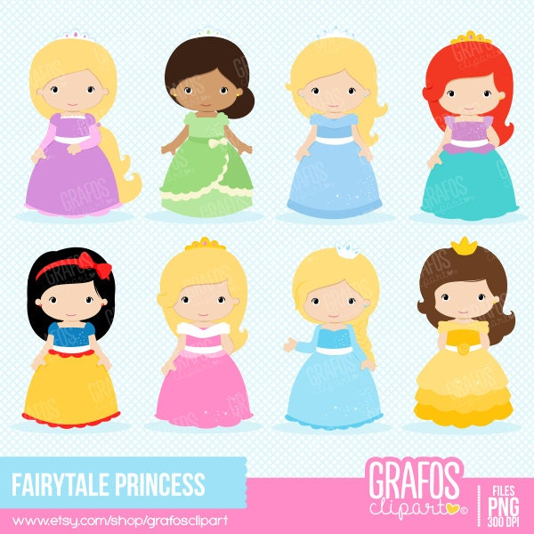 FAIRYTALE PRINCESS Digital Clipart Set Princess Clipart