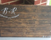 Pallet wood guest book sign with vine initals. Rustic alternative wedding.