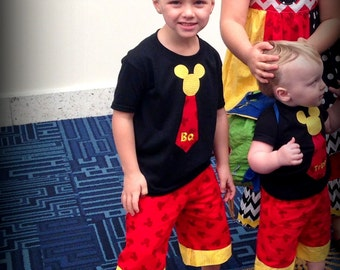 Boy Toddler Baby Mickey Tie Shirt and Shorts Disney World Disneyland Cruise Wonder Magic Fantasy Sewn