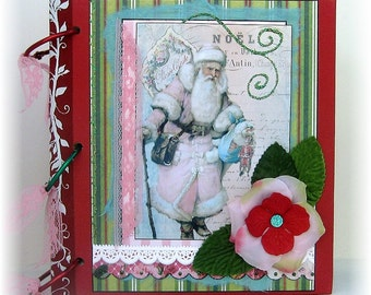 Scrapbook, Photo Album, Smash Book, Shabby Chic Pink Santa