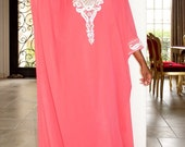 Coral and Silver Short Sleeve Caftan