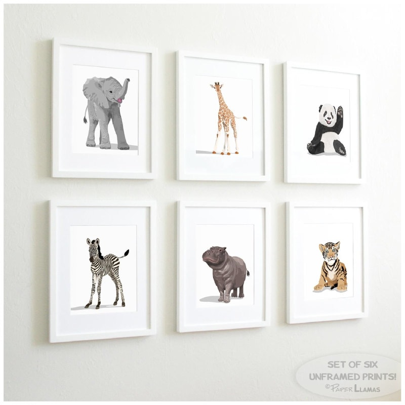 Baby Animal Nursery Art Prints modern minimalist nursery