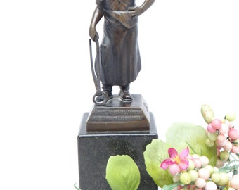 Antique German Bronze Hohenzollern Metal Worker Sculpture, Marble Base