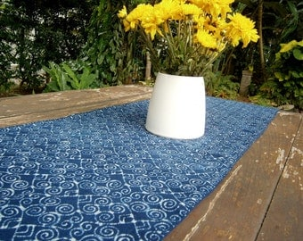 Table Runner In Hmong Indigo Batik Cotton 60 Inches or 94 inches - FREE Worldwide Shipping