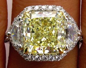 "Estate ""Canary"" 6.27ctw Natural Fancy  YELLOW Radiant Cut Diamond Wedding Diamond Halo Pave Platinum Ring"