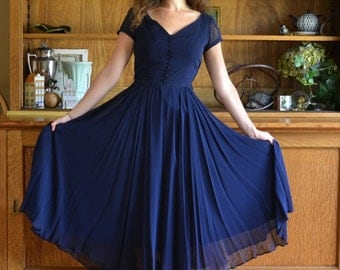 Midnight-Blue Dress 40's / Silk Chiffon Evening Ball Gown / Mysterious Depths dress