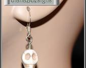 Bone white howlite skull earrings-Goth Fantasy Paranormal Halloween jewelry-sterling silver w skull earrings-Spooky scary fun earrings-SRAJD