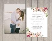 Floral Wedding Invitation (Printable) DIY by Vintage Sweet