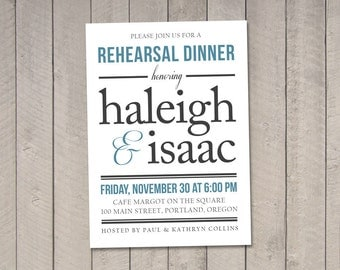 Wedding Rehearsal Dinner Invitation DIY (Printable) by Vintage Sweet