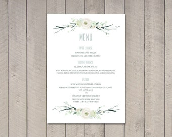 Vintage Floral Wedding Menu (Printable) DIY by Vintage Sweet