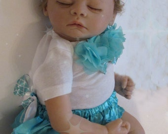 Newborn baby girls' bloomer diaper clothing set  take me home outfit turquoise blue bloomers outfit bodysuit headband bow quatrefoil print