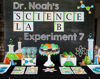 Science Party - Scientist Birthday - Boys Birthday Party - INSTANT Download PRINTABLE Package - Science Party Decorations