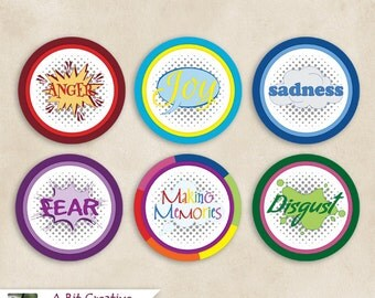 Graphic Design - Emotions Theme Party - Cupcake Toppers - DIY Printable, Joy Sadness Anger Disgust Fear Making Memories