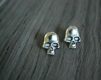 Skull Earrings -- Skull Studs, Halloween Studs, Silver Skulls