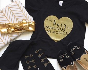 SALE Heart Busy Making Memories // baby toddler child Screen Printed tshirt // BLACK // Gold // American Apparel Tee :APhbmmSSb
