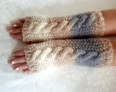 Fingerless  Gloves.Knit.Wrist/  Hand Warmers.Beige Cream blueSea Shell.Women's  Gloves.Winter  Warm.Arm/Wrist  Warmers.Cable.Knit Gloves.