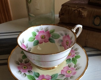Vintage Tuscan Tea Cup and Saucer C4201 by Tuscan - Royal Tuscan Fine English Bone China Made in England Gold Trim Pink Green Yellow
