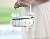 Boho chic flower girl basket, vintage flower girl basket