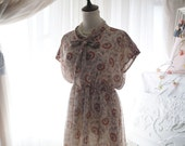 SUMMER CLEARANCE SALE  - Retro Preppy Style Printed Chiffon Dress Bow Tie Batwing Tunic Sundress