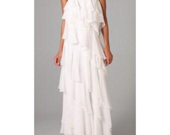Custom Order for Tammy Layered Asymmetric Wedding Gown Made to Measure Maxi Dress Boho Ruffles Wedding Dress