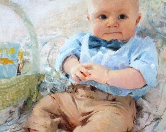 Custom Child Portrait - Baby Portrait - Custom Portrait Oil Painting Unique Baby Gift Boy Gift Personalized Baby Girl Gift Baby Art 12x16