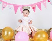 Girls gold Birthday, Pink and Gold Birthday, First Birthday, Girls First Birthday, Chevron Birthday, Birthday Outfit,
