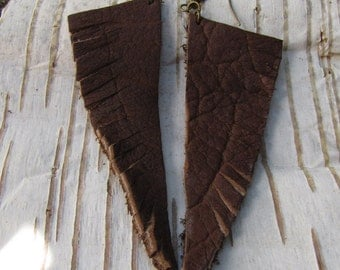 Earthy Boho Leather Feather Earrings/ Funky Eco Upcycled Earrings Brown Feather Style