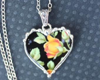 Necklace, Broken China Jewelry, Broken China Necklace, Heart Pendant, Black Chintz With Yellow Roses, Sterling Silver, Soldered Jewelry