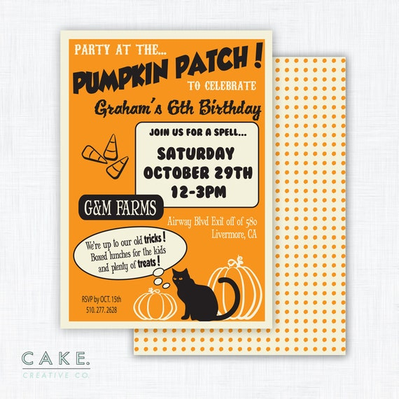 "Halloween Party Invitation Printable ""Pumpkin Patch"""