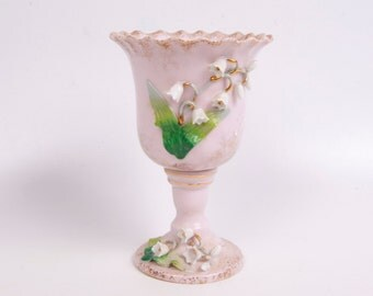 Vintage Lefton China Pink Lily Of The Valley Vase Chalice Trinket Holder Hand Painted Made in Japan