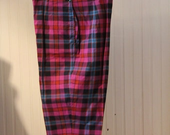 "28"" Hi-Waisted Cropped Capri Pants, 1950s Purple, Black and Teal Plaid"
