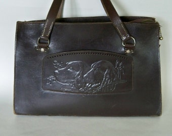 Vintage leather handbag dogs