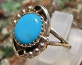 Sterling Turquoise Ring singed HD