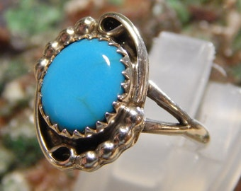 Native American Sterling Turquoise Ring singed HD