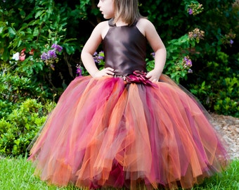 Autumn Fall Flower Girl Tutu Dress Floor Length Sewn Tutu Dress Brown Copper Wine with Satin Corset Clip 6 months-10 CUSTOMIZABLE