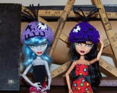 Monster High Doll Hats Green and Purple Zombie Handmade Beanie