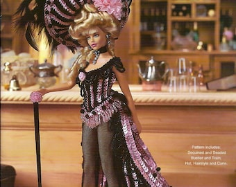 "Crochet Collector Costume Volume 87 / 1899 Wild West Showgirl 11 1/2""  Fashion Doll  Crochet Pattern P-098"
