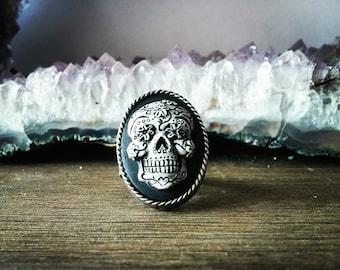 Sugar Skull Ring - Cameo Adjustable