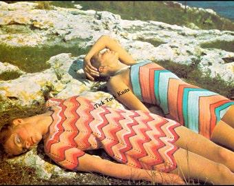 No.406 PDF Crochet Pattern - 2 Different Women's / Teens Chevron Dresses To Crochet - Vintage 1970's Retro Crochet Pattern - Inst Download