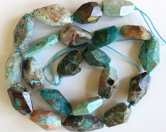 "Chrysocolla Faceted Nugget Beads ~ 16"" Strand"
