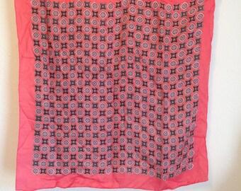 Vintage Scarf, Vintage Pink Black and Blue Scarf, Vintage Paisley Scarf