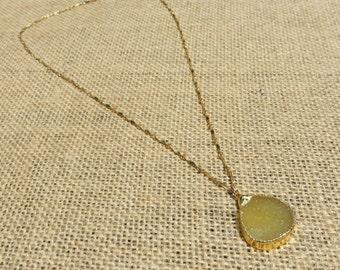 Lemon Yellow Druzy Pendant with Gold Dapper Bar Chain Necklace
