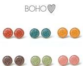 Bohemian Stud Earrings, recycled Boho Chic. Boho post earrings, bohemian jewelry, eco friendly boho jewelry, wood jewelry, wood earrings