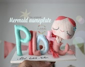 MERMAID NURSERY DECOR - Baby name sign, Nursery door sign, Baby shower centerpiece, the little mermaid, ocean nursery, under the sea nursery