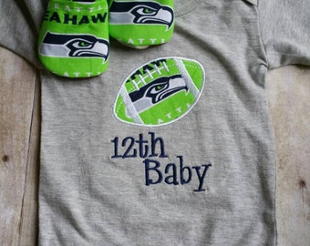 Seattle Seahawks Inspired  Baby Shirt and booties.