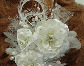 Three Rose Bridal Clip, Rose Fascinator, Bridal Headpiece, Bridal Hair Accessory