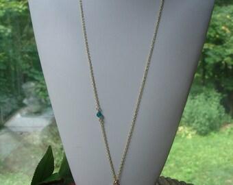 Modern Bohemian Rhinestone Gold Feather Necklace w/ Floating Swarovski Blue Zircon, Long Feather Necklace, Layering Necklace, Chain Necklace
